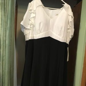 Stylish black and white dress in plus size
